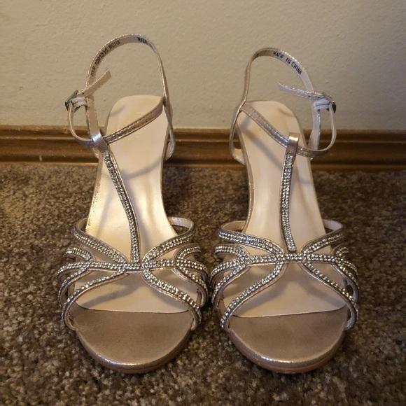David S Bridal Shoes Champagne Crystal Tstraps Wedges Poshmark